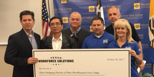 Dolco employees in Dallas will benefit from a Skills Development Fund grant from the Texas Workforce Commission that will be administered through Mountain View College. Dolco employees pictured from left to right: Marcus Hawn, Peter Fang, Chris Stotts, Ricky Redmon, Mark McKaig and Lori Dickirson